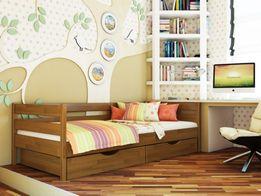 Кровать из дерева (бук), матрас, каркас, наматрасник, подушка.