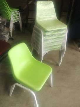 Green polyprop chairs