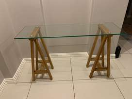 Glass and wood vanity desk with chair