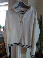 M&S sweter biały paski kaptur wiązania krótszy S . Jak Zara