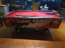 LIONS CUSTOMISED COIN OPERATED POOL TABLE FOR SALE.