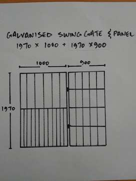 Galvanised gate with side panel .R1000