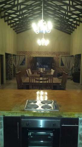 Equipped luxury lodge to rent on game farm estate.