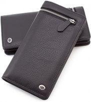 Мужской кожаный кошелек с двумя отделениями: на молнии и кнопках ST.