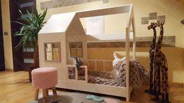 Łóżko drewniane domek styl skandynawski z barierkami dla dzieci ASTER