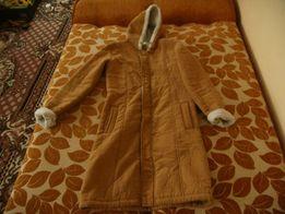Jesienno zimowy brązowy płaszcz Bonprix kaptur zamsz 36 38 S płaszczyk
