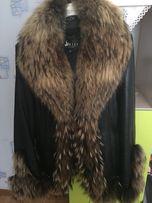 Зимняя кожаная курточка с натуральным мехом 44-46 размера
