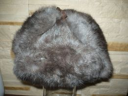 Brązowa uszanka z futra naturalnego