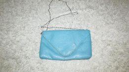 Сумка в пайетках Женская сумка голубая Клатч аксессуары Лабутены туфли