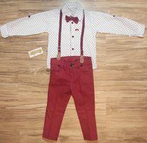 Niwy garnitur musza koszula szelki spodnie 86, 92, 98, 104