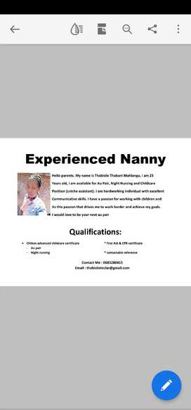 Experienced Nanny with Advanced Au Pair & Night Nursing Course
