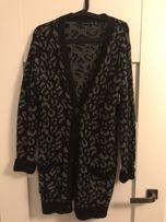 Kardigan ZARA sweter swetr rozmiar M, czarny szary + gratisy
