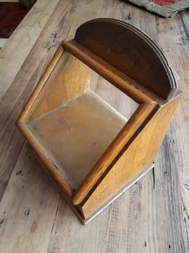 Antique wooden display cabinet with drawer.