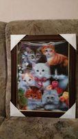 Картина 3D Котята в рамке