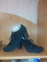 Осенние туфли, нат.замш, внутри кожа, литой каблук