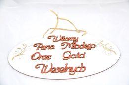 Tablica weselna Witamy Pana Młodego i Gości weselnych sklejka