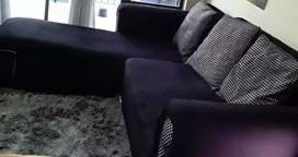 L SHAPED COUCH  WITH 3 BIG MATCHING CUSHIONS