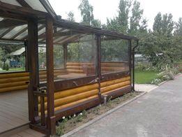 Прозрачные стены ПВХ, утепление для беседок, летних площадок, террас