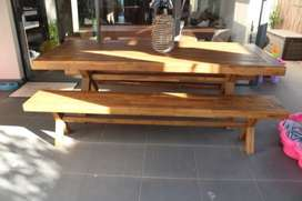 Acacia Wood Outdoor Furniture - Table and Benches