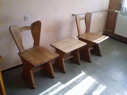 Krzesła 2+ stołek - DĄB.