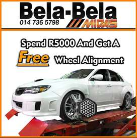 Spend R5000 at Midas Bela Bela and get a FREE Wheel Alignment!