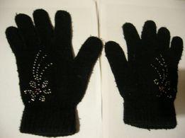 рукавиці, рукавички з паєтками для дівчат, чорні
