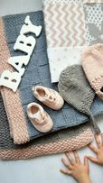 Детский вязаный плед для новорожденных шапочка для ребёнка