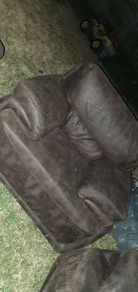 Genuine brown leather couches (Grafton Everest)