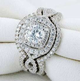 SOLID STERLING SILVER 2.0 Ct Cushion Cut Stunning New Halo Triple We