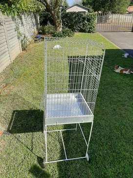 Galvanized parrot cage with stand