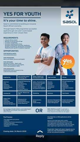 Sasol needed Office administration/General worker's to start working i