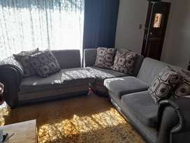 Brown L-shape couch