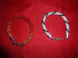dwie bransoletki czerwono-złota i srebrno-czarna tanio
