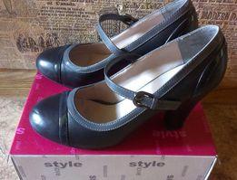 Туфли Centro кожзам черные с отделкой темно-серой, р.38, каблук 9