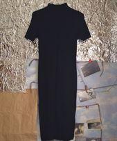 Чёрное длинное обтягивающее платье Pull & Bear, размер L