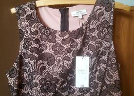 Nowa Sukienka ołówkowa 40 L czarna z beżową podszewką