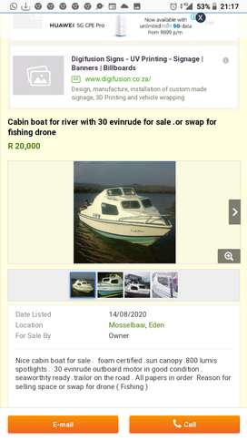 Cabin boat for sale with 30hp evinrude. Or swap for fishing drone