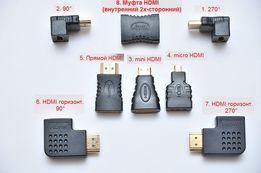 Переходник HDMI Mini, Micro, 90 градусов, вертикальный, горизонтальный