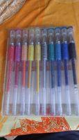 Długopisy żelowe, 10 sztuk, 10 kolorów. Nowe.