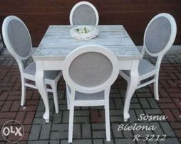 Rozkladany stół, sosna bielona+krzesła prowansja Vintage Ludwik