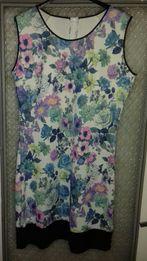 Nowa sukienka kwiaty Wstawka Eko Skóra L XL