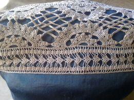 Накидка-вставка ажурная вязанная для наволочки, ручная работа