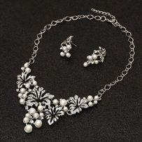 Komplet biżuterii srebrny z perełkami nowy 2 wzory naszyjnik kolczyki