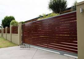 GALVANIZED STEEL FRAMED NUTEC SLATED DRIVEWAY GATES AND FENCING