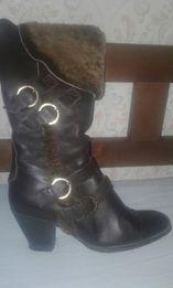 Зимние сапоги кожаные 37р казачки казачок сапожки натуральный кожа мех