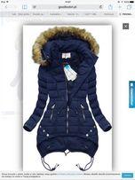 NOWA kurtka zimowa pikowana z kapturem granatowa z goodlookin r. S