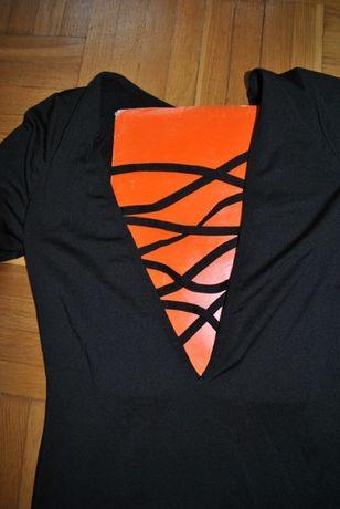 czarna obcisła sukienka z sexy głębokim dekoltem nowa 36 38 40 sylwest Elbląg - image 4