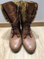 Bioeco by Arka botki na słupku skóra futerko zimowe roz. 40