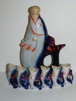 Сервиз графин + 6 рюмок фарфор рыбки СССР
