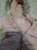 Новая куртка ЗАРА для девочки пуховая розовая